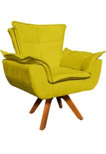 Poltrona Decorativa Giratã³Ria Gran Opala Base Madeira Suede Amarelo - D'Rossi - Amarelo - Dafiti