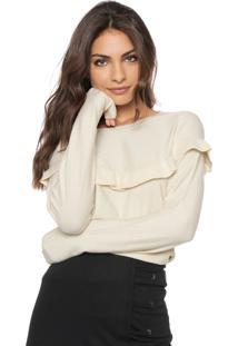 Suéter Vero Moda Tricot Babados Off-White