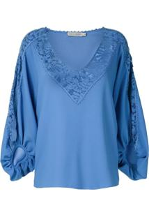 Martha Medeiros Blusa Giuliana Com Recortes Rendados - Azul