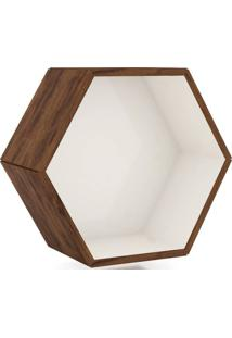 Nicho Hexagono 52X45Cm Cor Nobre Com Off White - 52899 - Sun House