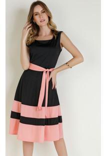 Vestido Bicolor Com Faixa Moda Evangélica