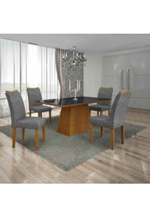Conjunto De Mesa Com 4 Cadeiras Pampulha Ii Imbuia Mel E Cinza