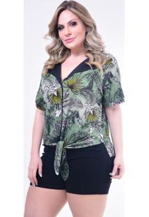 Camisa Plus Size Melinde Roujan Nó Verde