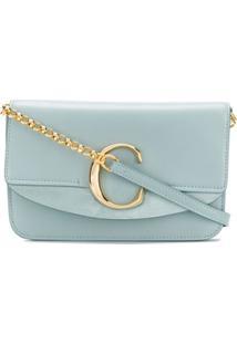 Chloé Logo Plaque Shoulder Bag - Azul
