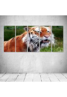 Quadro Decorativo - Tiger Neon - Composto De 5 Quadros