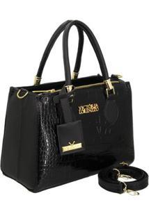 Bolsa Handbag Verniz Croco De Mão Com Zíper Feminina - Feminino-Preto