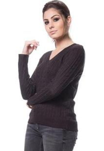 Blusa Logan Tricot Feminina Básica De Trança Feminina - Feminino-Preto