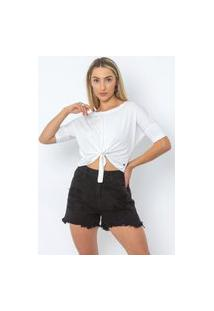 Camiseta Cropped Básica Feminina Le Julie Branco