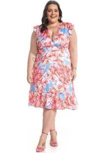 Vestido Midi Evasê Plus Size Folhagem Lala Dubi - Feminino-Azul+Vermelho