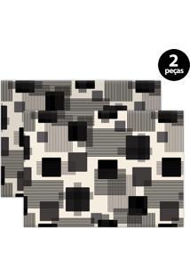 Jogo Americano Mdecore Geométrico 40X28Cm Bege 2Pçs