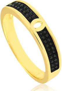 Anel Com Micro Zircônias Black Banhado Em Ouro 18K 22