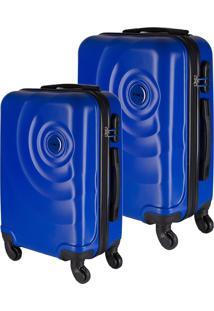 Conjunto De Malas De Viagem Em Abs Star Yins Cadeado Embutido Rodas Giro 360º 2 Peças P/Pp Azul