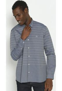 Camisa Slim Fit Listrada Com Bordado- Azul Marinho & Bralacoste