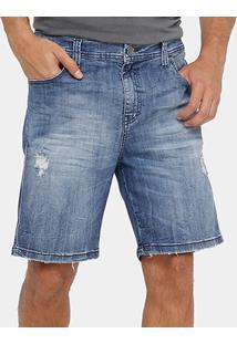 Bermuda Jeans Ellus Slim Stone Puidos Masculina - Masculino