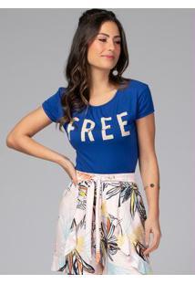 Blusa Com Decote Franzido E Fenda Lateral Azul