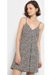 Vestido Curto Lez Lez Jaguar Zíper - Feminino-Onça+Preto