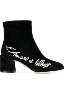 Dolce & Gabbana Ankle Boot Com Bordado De Couro - Preto