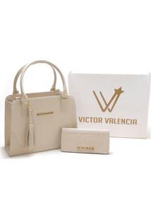 Kit Bolsa Versalhes Com Carteira Victor Valencia - Marfim - Kanui