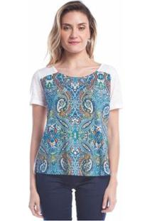Blusa Ralm Tricot Estampada Feminina - Feminino-Azul