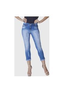 Calça Cropped Hno Jeans Skinny C/ Barra Desfiada Azul