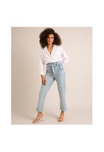 Calça Jeans Reta Cintura Super Alta Com Amarração Azul Claro
