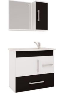 Armário Banheiro Com Espelheira E Pia Em Marmore Sintetico Branco/Preto Fortaleza Mgm