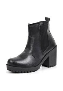 Bota Tratorada Elástico Dhl Calçados Feminina Preto Fosco