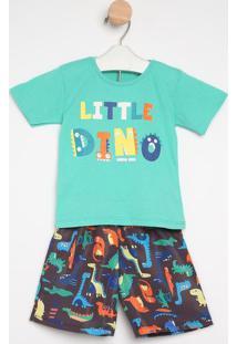 "Conjunto De Camiseta ""Little Dino"" + Bermuda- Verde & Cigueda Kids"