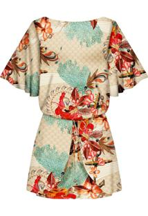 Vestido Recorte Costas Estampa Floral Marinho - Lez A Lez