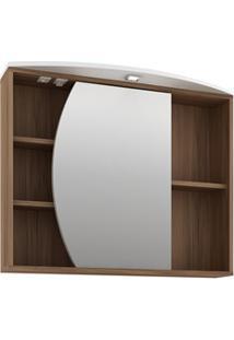 Armário De Banheiro Com Espelho Duna 80Cm Nogal/Branco - Bosi