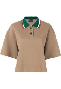 Kolor Camisa Polo Com Gola Contrastante - Marrom