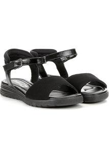 Sandália Comfortflex Velcro Feminina - Feminino-Preto