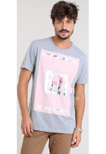 "Camiseta Masculina ""Exploring"" Manga Curta Gola Careca Cinza Mescla"