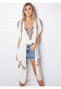 Kimono Feminino Etnico (Off White, Un)