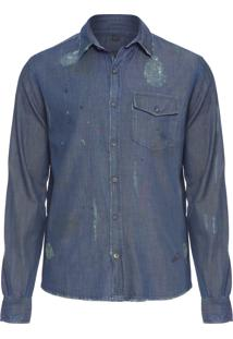 Camisa Masculina Destroyed Denim - Azul
