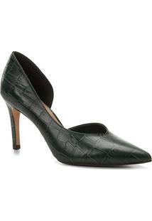 Scarpin Couro Shoestock Salto Alto Croco High Vamp - Feminino-Verde