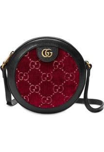 Gucci Bolsa Tiracolo Redonda Em Veludo Gg - Vermelho