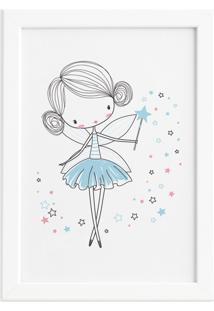 Quadro Para Quarto De Menina Fada Azul Moldura Branca 33X43