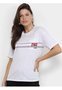 Camiseta Ellus 2Nd Floor Lines Feminina - Feminino-Branco