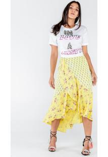 Saia Longa De Cetim Estampa Mix Floral Amarelo