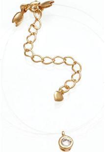 Gargantilha Prata Mil Silicone Com Redondo De Zircã´Nia Dourado - Multicolorido - Dafiti