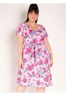 Vestido Floral Rosa Com Faixa Grátis Plus Size