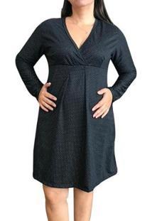Camisola Linda Gestante Manga Longa Maternidade Feminina - Feminino-Preto+Azul Claro