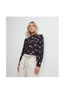 Camisa Manga Bufante Em Viscose Estampa Floral | Atelier | Preto | P