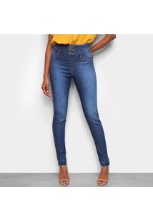 Calça Jeans Skinny Tks Estonada Dois Botões Cintura Alta Feminina - Feminino