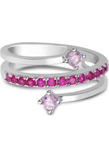 Anel Life Pink Triplo Quartzos Rosas - Tricae