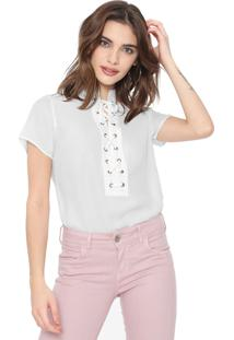 Blusa Facinelli By Mooncity Lace Up Off-White