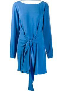 Patrizia Pepe Vestido Com Amarração Na Cintura - Azul