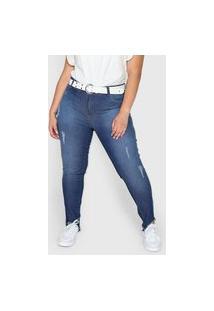 Calça Jeans Grifle Company Skinny Puídos Azul