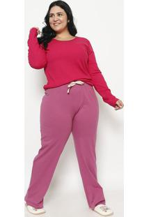 Pijama Manga Longa & Calã§A Com Amarraã§Ã£O- Pink & Rosasonhart